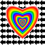 Big heart in rainbow colors and arrows Royalty Free Stock Photo