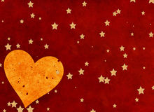 Big heart on red background with stars Royalty Free Stock Images