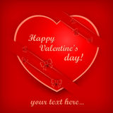 Big heart on red with ribbon & text Royalty Free Stock Photos