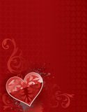 Big heart red valentine background. Big ornate shiny heart with swirls and splatters over a red heart pattern background Stock Photos