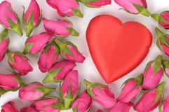 Big heart shape and pink roses Royalty Free Stock Photos