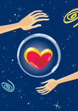 Big heart in space. Big colored heart in a glass bowl, floating in space. EPS 8.0. RGB. Illustration can be used as template for greeting card for life events Stock Image