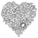 Big heart of spring flowers for coloring book. Mothers day holidays design. Valentines day heart. Hand-drawn decorative elements. Black and white. Zentangle royalty free illustration