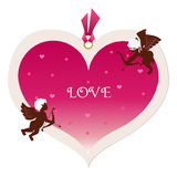 Big heart tag and cupids Stock Image