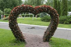 Big Heart (topiary figure) of fresh flowers in the park. The pas Stock Image