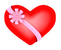 Big heart, Valentine's day. Big heart, gift with ribbon, Valentine's day royalty free stock images