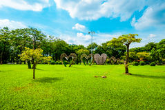 Big hearts in the middle of Lumphini Park, Bangkok Stock Images
