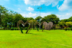 Big hearts in the middle of Lumphini Park, Bangkok Royalty Free Stock Photos