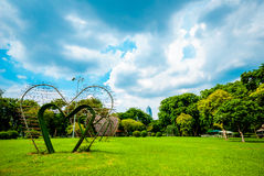 Big hearts in the middle of Lumphini Park, Bangkok Royalty Free Stock Images