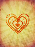 Big hearts with rays on old paper Stock Images