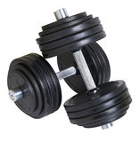 Big heavy dumbbells cutout. Pair of big heavy dumbbells over white with clipping path Stock Images