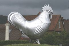 Big hen. Metal big hen royalty free stock image