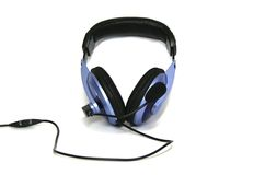 Big HI-FI headphones. With a leather rim and a microphone Royalty Free Stock Images