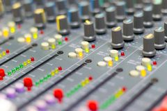 A big HiFi system, The audio equipment and control panel. Close up Mixing Console of a big HiFi system, The audio equipment and control panel of digital studio royalty free stock image