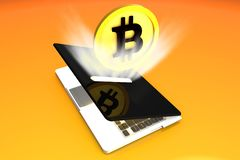 Bitcoin, Light Absortion Money Laptop. Big, High Quality Concept of Bitcoin coin modeled in 3D getting in a money box laptop with light force render Royalty Free Stock Photo