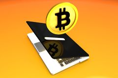 Bitcoin, Digital Money Box Laptop. Big, High Quality Concept of bitcoin saving coin modeled in 3D in a laptop money box Royalty Free Stock Photo
