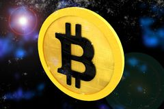 Bitcoin, To the space Concept. Big, High Quality Concept of bitcoin saving coin modeled in 3D in the Space Stock Images