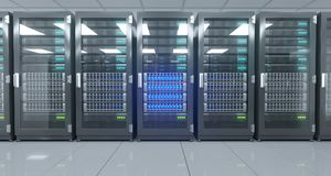 Big High Tech Server Data Center With Reflective Floor And A Lot Royalty Free Stock Photos