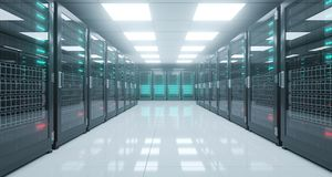 Big High Tech Server Data Center With Reflective Floor And A Lot Stock Photography