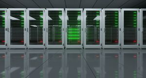 Big High Tech Server Data Center With Reflective Floor And A Lot Stock Photo