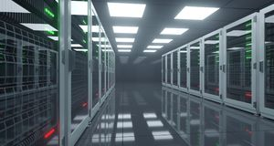 Big High Tech Server Data Center With Reflective Floor And A Lot Royalty Free Stock Images