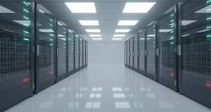 Big High Tech Server Data Center With Reflective Floor And A Lot Stock Image