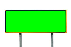 Big Highway Sign Isolated on White with Chroma Green Insert Stock Photos