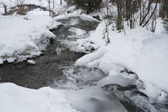 Big Hill Springs Provincial Park stream in winter Stock Photos