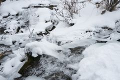Big Hill Springs Provincial Park stream in winter Stock Photo