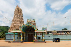 Big Hindu temple with the big tower (gopuram) Stock Photos