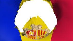 Big hole in Andorra flag. White background, 3d rendering royalty free illustration