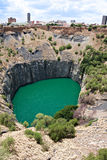 Diamond mine. Big hole in kimberley, south africa, where De Beers diamond company originated and diamonds were dug out by hand. Largest man made hole on earth Stock Photo