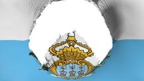 Big hole in San Marino flag. White background, 3d rendering royalty free illustration