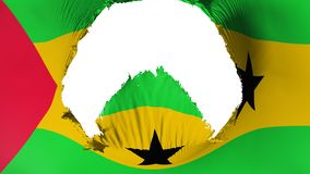 Big hole in Sao Tome and Principe flag. White background, 3d rendering stock illustration
