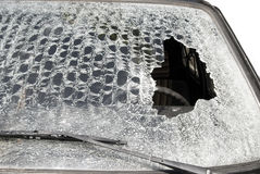 Big hole in windshield Stock Images