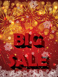 Big holiday sale with fireworks Stock Photos