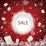 Big holiday sale with fireworks. And snowflakes Stock Image