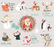 Big holiday set with funny characters and symbols vector illustration