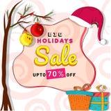 Big Holidays Sale Banner, Sale Poster design Upto 70% Discount O. Ffer stock illustration