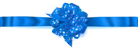 Big horizontal bow made of ribbon in polka dots. Beautiful big horizontal bow made of blue ribbon in polka dots with shadow on white background Royalty Free Stock Images