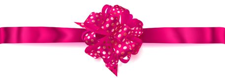 Big horizontal bow made of ribbon in polka dots. Beautiful big horizontal bow made of crimson ribbon in polka dots with shadow on white background Stock Photos