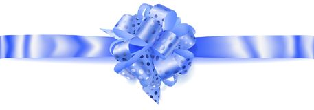 Big horizontal bow made of ribbon in polka dots. Beautiful big horizontal bow made of light blue ribbon in polka dots with shadow on white background Stock Photography