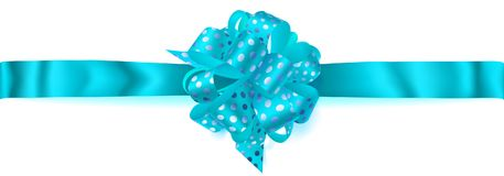 Big horizontal bow made of ribbon in polka dots. Beautiful big horizontal bow made of light blue ribbon in polka dots with shadow on white background Stock Photo