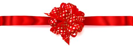 Big horizontal bow made of ribbon in polka dots. Beautiful big horizontal bow made of red ribbon in polka dots with shadow on white background Royalty Free Stock Photos