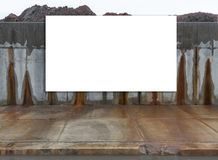 Big, horizontal, white, blank, billboard next to the street. Stock Photo