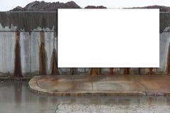Big, horizontal, white, blank, billboard next to the street. Stock Photos