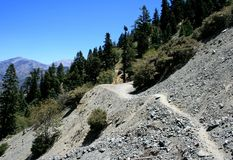 Big Horn Mine Trail. Narrow trail on a steep hillside in the San Gabriel Mountains, California Stock Photos