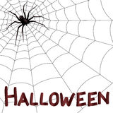 Big horrifying spider on the web. Big dark horrifying spider on the web, hand drawing Halloween vector artwork Stock Photography