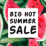 Big Hot Summer Sale Banner. Vector watercolor illustration with Royalty Free Stock Photography