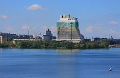 Big hotel on bank of Dnieper river in Stock Photos